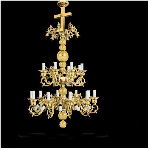 Candelabru bronz in baie Aur 42 becuri