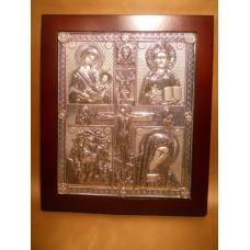 Icoana Argint Maica Domnului si Iisus Hristos
