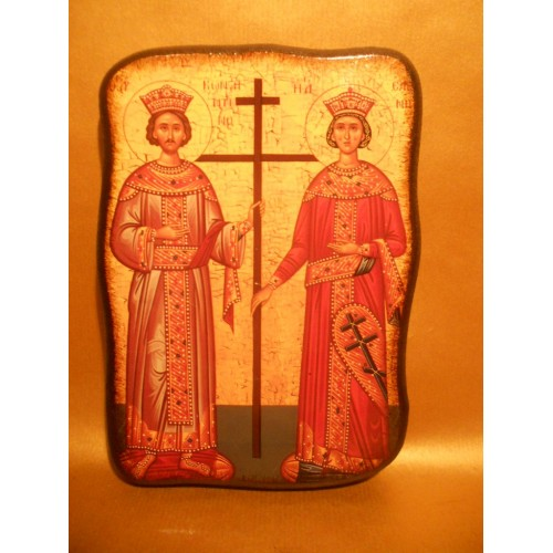 Icoana Lemn Sfintii Imparati Constantin si Elena